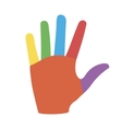 Hand with Colorful Fingers vector image