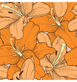 seamless background orange lilies hand-drawing vector image