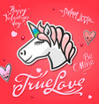 valentines day card with cute unicorn animal vector image