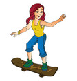 woman on a skateboard vector image