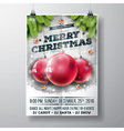 Merry Christmas Party design with glass balls vector image