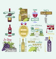 wine vintage old retro look style logo badge vector image