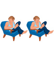 Happy cartoon man sitting in blue chair in blue vector image vector image