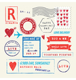 Wedding and Valentines Day stamp set vector image