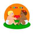 Two Funny children hold the heart International vector image