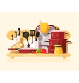 Kitchen dishes design flat vector image vector image