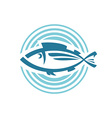 Fish logo template Round background sign vector image