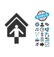 House Owner Wellcome Flat Icon with Bonus vector image