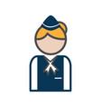 stewardess avatar icon on white background vector image