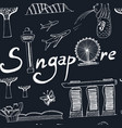 seamless pattern singapore hand drawn icons vector image