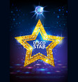 silhouette of gold disco star sign on disco ball vector image