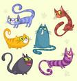 cartoon set of funny cats vector image