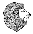 Head roaring lion style zentangle vector image