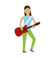 Musician cartoon characters with guitar isolated vector image