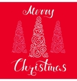 Merry Christmas Snow and Tree Red vector image