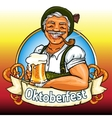 Smiling Bavarian man with beer and smoking pipe vector image