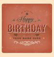 vintage red happy birthday card vector image