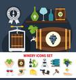 wine flat icons set vector image