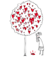 woman and love tree vector image vector image