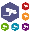 Surveillance camera icons set vector image