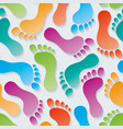 multicolor footprints 3d seamless wallpaper vector image