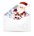 Open envelope with snowflakes and Santa Claus vector image