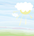 Card with sky and sun - pastel color vector image
