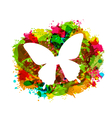 Simple White Butterfly on Colorful Grunge Damage vector image vector image