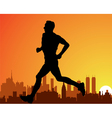 City and a running man vector image
