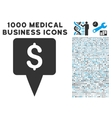 Dollar Map Pointer Icon with 1000 Medical Business vector image