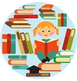 girl reading on pile of books vector image