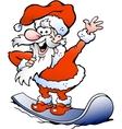 Hand-drawn of an Happy Santa on snowboard vector image
