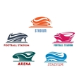 Modern abstract sport stadiums building icons vector image