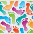 multicolor footprints 3d seamless wallpaper vector image