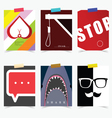 poster set in various item attractive vector image