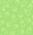 Seamless baby pattern in green tones vector image