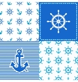 set marine wheel and anchor seamless vector image
