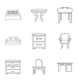 Furniture and home interior set icons in outline vector image
