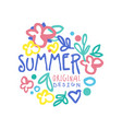 summer logo template original design colorful hand vector image vector image