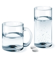 Mug and glass of water vector image