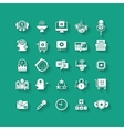 White flat icons set with long shadows Business vector image