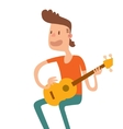 Acoustic guitar boy sitting and play flat vector image