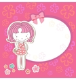 Little girl with flowers vector image