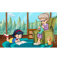 Girl reading and grandma knitting vector image