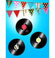 Vintage vinyl records and bunting over sunny sky vector image