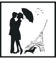 Happy young lovers couple kissing in Paris France vector image