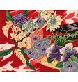 vintage hawaiian kimono motifs vector image