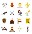 Knight icons set flat style vector image
