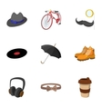 Trendy hipsters icons set flat style vector image