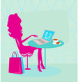 Online shopping - young smiling woman sitting with vector image
